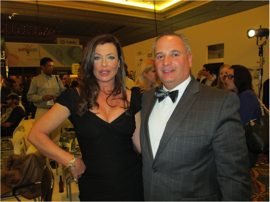 Super Model Kelly LeBrock and Mark Sarver at #MommyTech #CES Photo courtesy of www.thecubiclechick.com